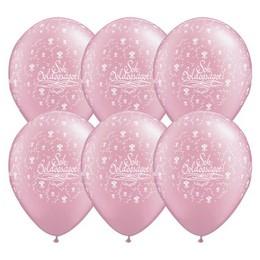 11 inch-es Sok Boldogságot Pearl Pink Esküvői Lufi (25 db/csomag)