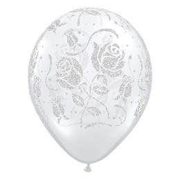 11 inch-es Glitter Roses-A-Round Diamond Clear Esküvői Lufi (25 db/csomag)