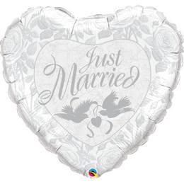 36 inch-es Gyöngyház Fehér-Ezüst Just Married Héliumos Fólia Lufi