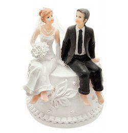 Tortán Ülő Esküvői Pár Tortadísz és Persely
