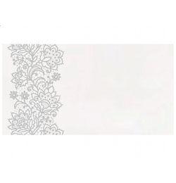 Esküvői Fehér Ültetőkártya Ezüst Virág Mintával - 25 db-os