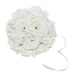 Fehér Textil Dekorációs Virág Labda - 3 db-os