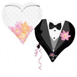 Esküvői Páros Szív Alakú Héliumos Fólia Lufi, 76 cm
