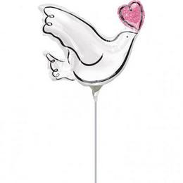 Wedding Doves - Szerelmes Galambok Esküvői Mini Shape Fólia Lufi