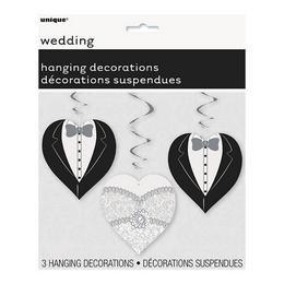 Esküvői Szívek Spirális Függő Dekoráció - 3 db-os