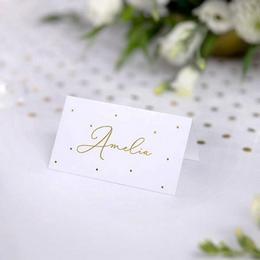 Esküvői Ültetőkártya Arany Pöttyös Mintával - 10 db-os