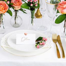 Esküvői Ültetőkártya Rózsaarany Szív Díszítéssel - 10 db-os