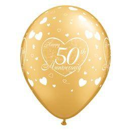 11 inch-es Happy 50th Anniversary Heart Gold Lufi Évfordulóra (6 db/csomag)