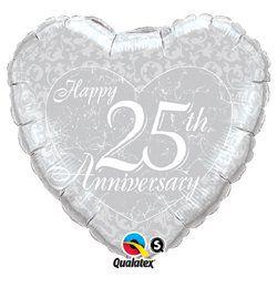 18 inch-es Happy 25th Anniversary Heart Házassági Évfordulóra Héliumos Fólia Lufi