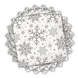 Ezüst Hópehely Mintás Parti Szalvéta Karácsonyra