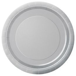 Silver Papír Parti Tányér - 23 cm, 8 db-os