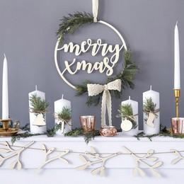 Fából Készült Merry Xmas Karácsonyi Dekoráció, 28 cm-es