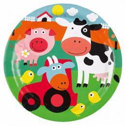 Farm Állatok - Farm Fun Papír Parti Tányér - 23 cm, 8 db-os