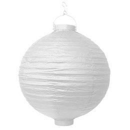 Fehér Színű Kerti Gömb Lampion Égővel - 30 cm