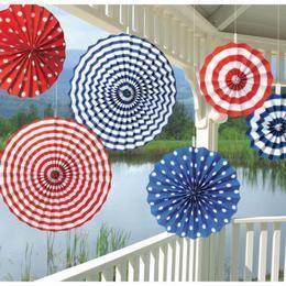 Fehér Piros Kék Legyező Függő Dekoráció - 20-41 cm, 6 db-os