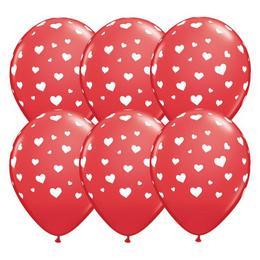 11 inch-es Random Hearts-a-Rnd Red Lufi (6 db/csomag)