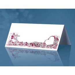 Fehér Ültetőkártya Bordó Szív Mintával - 4 cm x 10 cm, 25 db-os