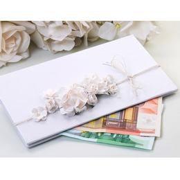 Fehér Virágos Elegáns Pénzboríték Esküvőre