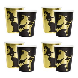 Fekete Arany Boszi és Cica Mintás Pohár Halloween-re
