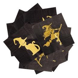 Fekete Arany Boszi és Cica Mintás Szalvéta Halloween-re, 33 cm x 33 cm, 20 db