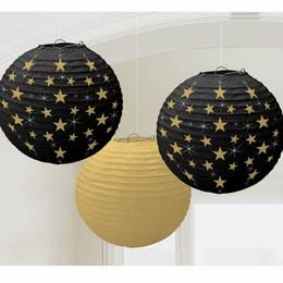 Fekete Arany Csillagos Dekorációs Lampion - 24 cm, 3 db-os