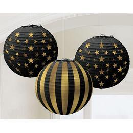 Fekete Arany Hollywood Függő Lampion, 3 db-os