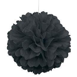 Fekete Bolyhos Függő Dekoráció - 41 cm