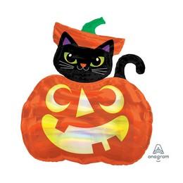 Fekete Cica és Tök Super Shape Fólia Lufi Halloween-re