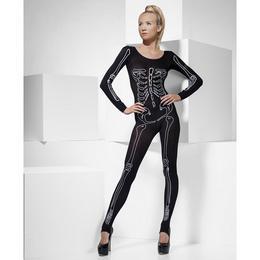 Fekete Csontváz Mintás Női Testruha - S/M