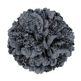 Fekete-Ezüst Damask Mintás Bolyhos Függő Dekoráció - 41 cm