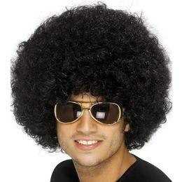 Fekete Funky Afro - Mikrofon Paróka
