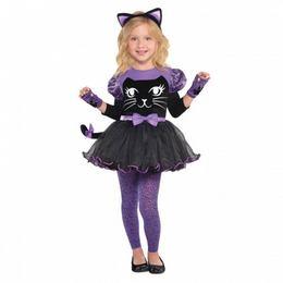 Fekete Lila Cica Kislány Jelmez Halloween-re, 3-4 Éveseknek