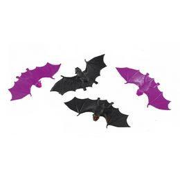 Fekete-Lila Denevérek Halloweenre, 6 db-os
