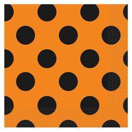 Narancssárga-Fekete Parti Szalvéta Halloweenre - 33 cm x 33 cm, 16 db-os