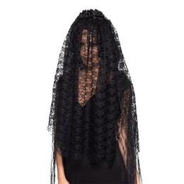Fekete Özvegy Fátyol Fejpánt Nőknek Halloween-re