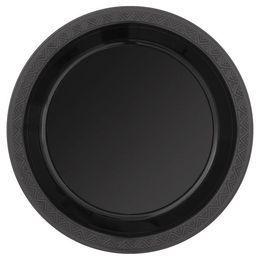 Black Műanyag Parti Tányér - 23 cm, 8 db-os