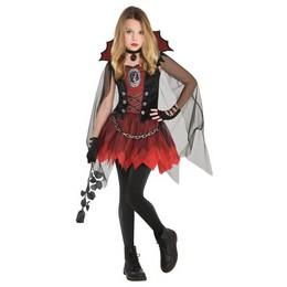 Fekete Piros Vámpír Lány Jelmez Halloween-re, 8-10 Éveseknek