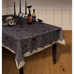 Fekete Pókháló Mintás Asztalterítő - 152 cm x 213 cm