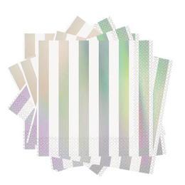 Fényes Csíkos Ezüst - Hologramos Szalvéta - 33 cm x 33 cm, 16 db-os