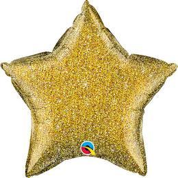 20 inch-es Glittergraphic Gold Csillag Fólia Lufi