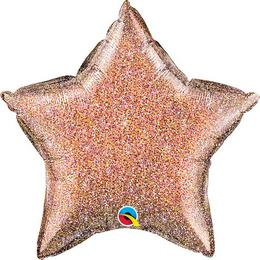 20 inch-es Glittergraphic Rose Gold Csillag Fólia Lufi