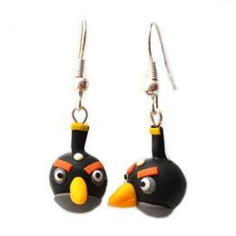 Fincsi Lógós Fülbevaló - Fekete Angry Birds Madár