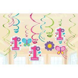First Birthday Pink Spirál Szülinapi Függő Dekoráció, 12 db-os