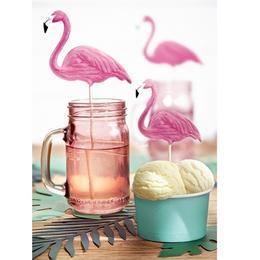 Flamingó dekoráció pálcán - tortára, asztalra, virágcserépbe - 6 db-os