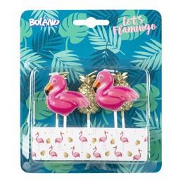 Flamingó és Ananász Gyertya Parti Szett - 5 db-os
