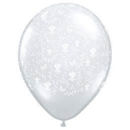 11 inch-es Flowers-A-Round Diamond Clear Esküvői Lufi (50 db/csomag)