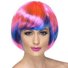 Funky Babe Pink és Kék Színes Parti Paróka