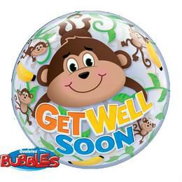 22 inch-es Get Well Monkeys Héliumos Bubble Lufi