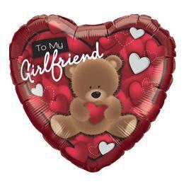 18 inch-es Maci Szívvel - To My Girlfriend Bear Szív Héliumos Fólia Lufi