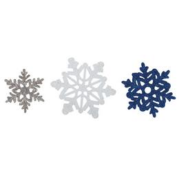 Glitteres Hópehely Dekoráció - 6 db-os